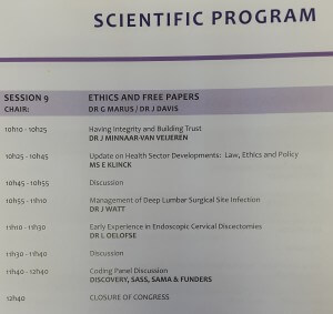 """Dr Janette speaking on """"Having integrity and building trust"""" at the Spine Congress 28 May 2016"""